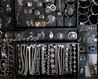 Vintage sterling silver statement jewelry including pieces from Mexico, all 50% off original prices!