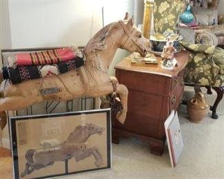 French Wood Carousel Horse & Framed Carousel Art