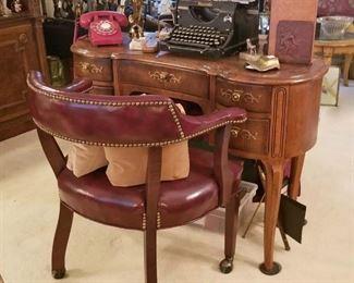 Henredon Curved Wood Desk finished both sides, Burgundy Chair on Casters, Burroughs Typewriter, Vintage Phone & Desks Sets