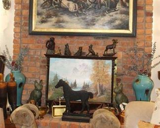 Original Oil Paintings, Vases, Ram Footrest, Cast Iron Horses, Figurines, Boots, Wall Sconces
