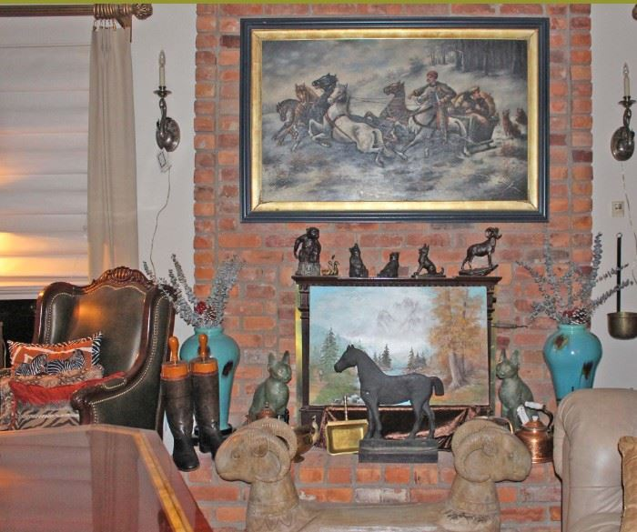 Cast Iron Horse, Boots, Vases, Bronzes, Sconces, Original Oil Paintings, One Framed, Ram Foot Rest