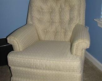 "#8 $35.00 - Swivel rocking chair 32""arm width, cream color"
