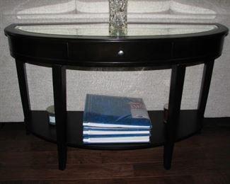 "#4 $50.00 - Demilune sofa / consoletable w/beveled mirror top - 50""x19""x22""h"