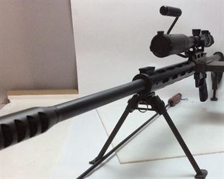 SAFETY HARBOR 50BMG BOLT ACTION RIFLE WITH SCOPE AND MONOPOD, FIREARMS