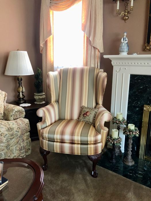 Lovely traditional furniture throughout the house including this pair of Wing Chairs
