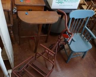 small tables, child chair, vintage trike