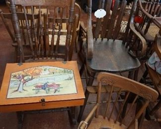 chairs, high chairs, vintage wood child potty chair