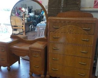 Antique vanity and chest of drawers