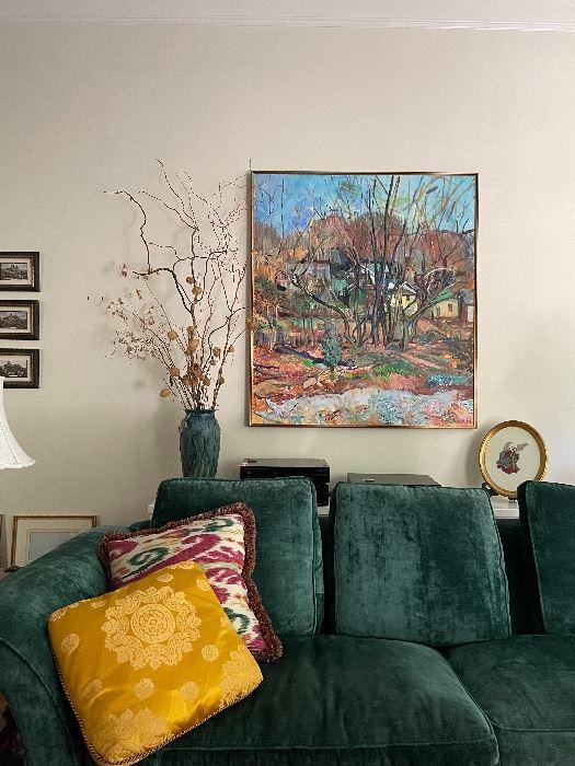 Charles Stewart Green velvet Sofa -  Large Original Andrew Martin Painting!  Framed Cross Stitch Angel, large signed  studio pottery vase