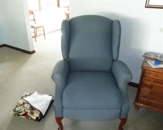one of 2 matching wing chairs