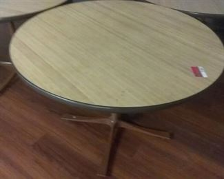 (8) 42 and a half inch diameter wooden cafeteria tables