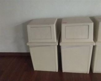 """(2) 23 1/2"""" by 23 3/4"""" by 41"""" beige trash cans with push lid and a 20"""" by 20"""" by 40"""" beige trash can with push lid"""