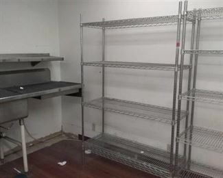 """48"""" by 18"""" by 74 1/2"""" Aluminum storage shelf"""