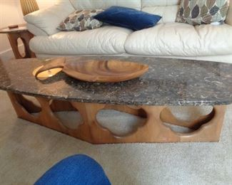 """Mid Century Modern marble top Surfboard coffee table, 68"""" x 21 1/2"""" tall x 15 1/2 wide"""