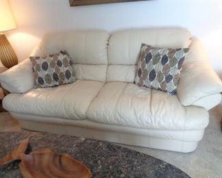 """white-cream colored Italian leather sofa, 78"""" long"""