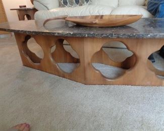 """detail of MCM Coffee table, 68"""" long x 21 1/2"""" high x 15 1/2"""" wide"""