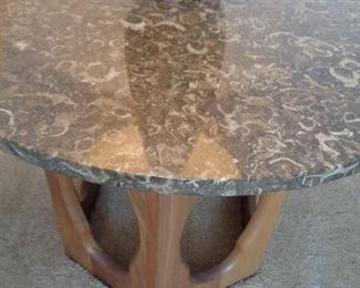 """Marble top of MCM end table-one of two, 26"""" round x 18"""" tall"""