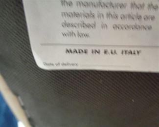 Italian leather sofa and love seat label
