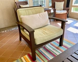 """Was $750.00  Now $375.00 Pair Pottery Barn lounge armchairs  34""""h x 34""""w x 37""""d"""