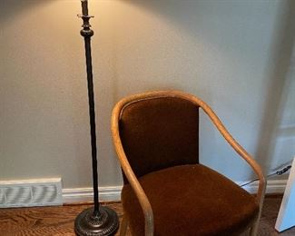 """MCM curved wood chair and garnet mohair upholstery (31"""" x 23"""" x 25"""") $ 400 each (2 available) floor lamp bronze with ivory shade - SOLD"""