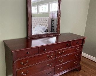 """Solid cherry long dresser with 9 drawers (35"""" x 66"""" x 20"""") and mirror (43.5"""" x 31.5"""") $450"""