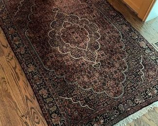 """Hand-made 100% wool rug with hand-tied fringe (69"""" x 44"""") $750"""