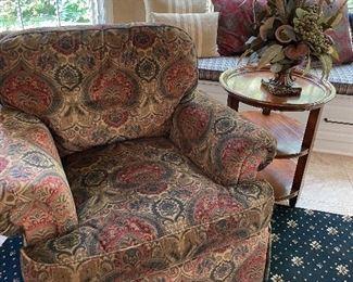 "Paisley patterned velvet armchair by Sherrill (35"" x 40"" x 40"") $500"