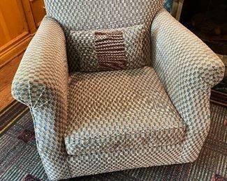 """Taupe checkered pattern chair by Milling Road (33"""" x 32"""" x 28"""") $400"""