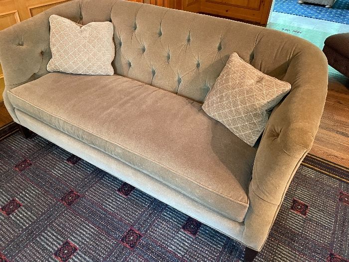 """Loveseat - single cushion - taupe with pillows by Sherrill (33 x 70 x 27) $700 and custom rug by Stark ((12'4"""" x 9'5"""") $600"""