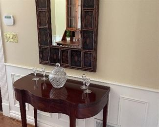 """BAKER entryway table converts to game table (30"""" x 38"""" x 18"""") $325, Mirror (40"""" x 27"""") $175, Waterford jar with lid $50; Waterford glasses - SOLD"""