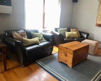 Leather oversized chairs , ottomans & trunk