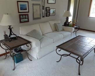 White upholstered sofa and 3-piece iron coffee table end table marble tile top