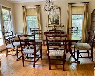 Mahogany dining table & 8 English chairs