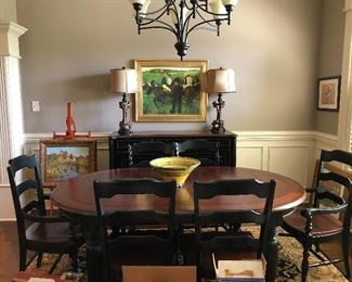 BEAUTIFUL DINING ROOM  SUITE TABLE AND 6  CHAIRS, BUFFET AND TWO REPRODUCTION OIL PAINTINGS ALSO ONE OF SEVERAL REPRODUCTION DEGAS PRINTS TO THE FAR RIGHT