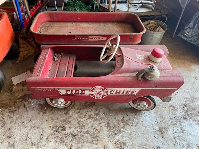 Metal Foremost Wagon and Nice Fire Chief Peddle Car