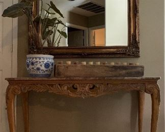 Stunning Entry Table, Ornate Mirror, Candle Holder, Potted Plant