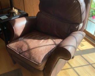 """Arhaus brown leather matching recliner.  Measures 43"""" w x 36"""" d x 40"""" h.  Presale $175…after Sept. 9"""