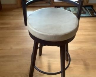 """Three bar stools…have 27"""" seat height. Were$180 each new.  $125 each or all three for $325 presale after Sept. 9."""