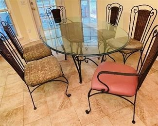 """NOW $150 Dinette set with 4 chairs and 2 arms (was $275) 82""""L x 46""""D x 29""""H"""