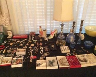 table full of jewelry
