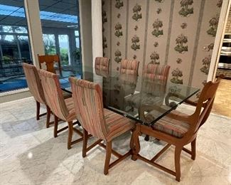 #8 - $795 - Empire Walnut 6 Chairs & 2 arms