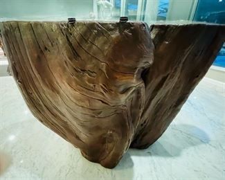 #9 - $1,195 Free form natural Cypress wood stump dining table with bezel glass top  • 29high 95wide 47deep