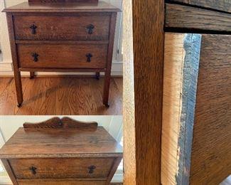 Antique Oak 2 Drawer Sideboard/Washstand/Nightstand