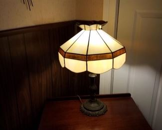 Vintage lamp on an antique table