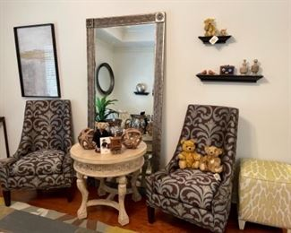 2 Matching Sherrill Teal & Brown Contemporary Chairs