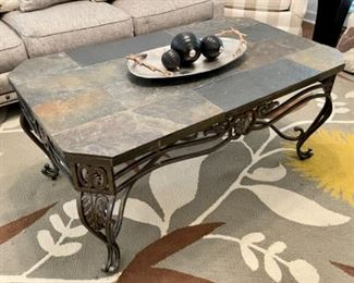 Slate Top With Iron Base Coffee Table