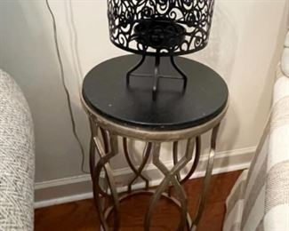 Round Side Table With Marble Top & Metal Base