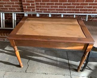 #5(as is) Leather Top Dining Table 4'x32x30 $75.00