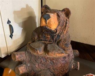 "#23Wood Carved Bear  24"" Tall $70.00"