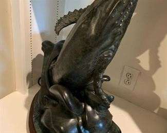 """#66Bronze Statue of Whale  on Green Marble Base """" by Richard Bruce (heavy) - Retailed for $5K   25"""" Tall $800.00"""